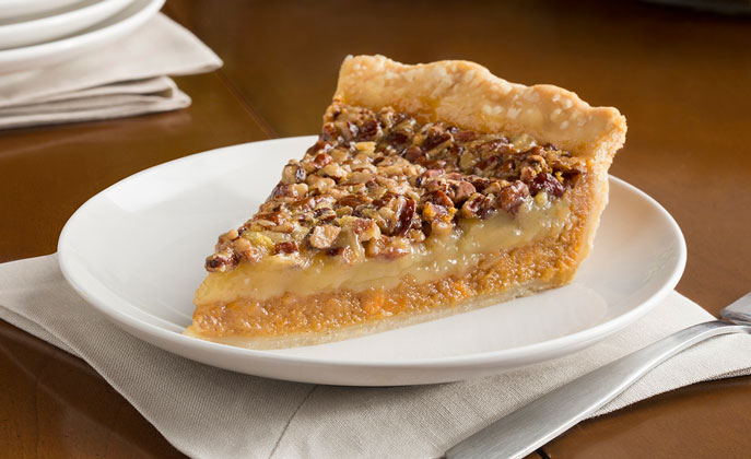Two favorite holiday pies combined all in one! This recipe makes two pies – eat one, share one.