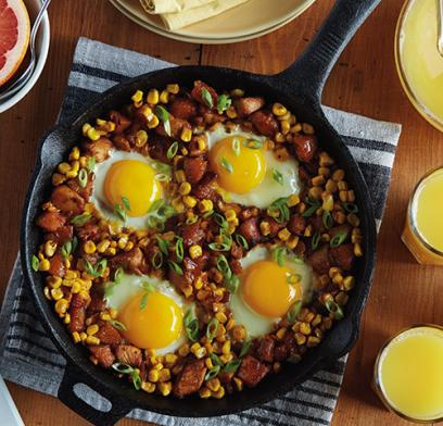 Enjoy a relaxing brunch after the holidays with a simple one skillet meal, and boost your leftover turkey with corn, sweet potatoes and eggs.